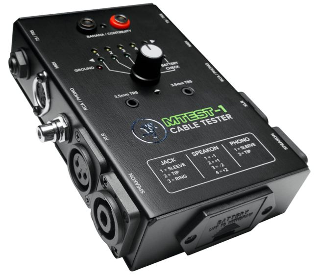 Mackie Cable Tester, 6-way switch Battery-Powered Connector Test
